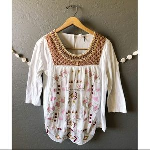 Anthropologie Ivory Embroidered Peasant Boho Top